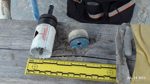 Scale of hole saw