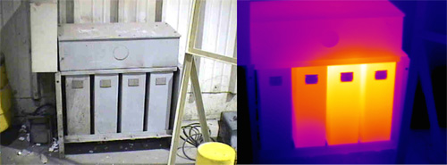 Thermal image shows left capacitor operating at ambient temperature. Images courtesy Dan Playforth.