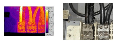 Thermal and visual images of conductor connection at the main lug of the motor control center.