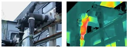 Thermogram shows hot elbow due to loose internal connection. ~ Images courtesy Jim Lancaster