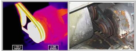 Thermogram shows overheating V belt.  Note castoff in control photo. Images courtesy Skip Handlin.