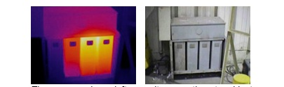 Thermogram shows left capacitor operating at ambient temperature. This condition is typical of an open supply circuit or failed capacitor winding