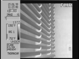 Thermal image shows normal thermal pattern. Image taken through opaque flame.