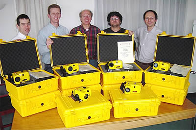 Managing Director Dr Richard Salisbury (centre) with some of the Thermoteknix Team and the 10 VisIR cameras packed and ready for shipment to Japan