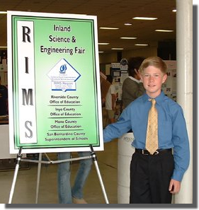 Shay Edwards at the Riverside, Inyo, Mono and San Bernadino County Science Fair competition April 2003.