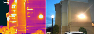 Thermal image shows hot spots caused by latent moisture within EIFS clad wall. Image taken post sunset following a sunny day.