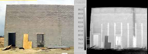 Thermogram shows incomplete vertical grout details and insufficient grout around doorways in newly constructed wall . Images courtesy Stockton Infrared.