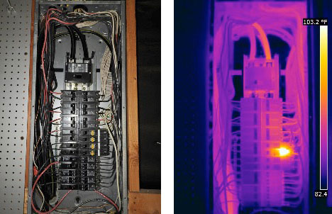 Thermogram shows three out of four AFCI devices operating at ambient temperature. These devices had failed and were no longer protecting against arc faults. Images courtesy Houston Thermal Inspections and Infrared Imaging.